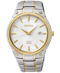Seiko Men's Solar Two Tone Stainless Steel Bracelet Watch 41Mm Sne324