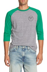 Brixton 'Wheeler' Three Quarter Raglan Baseball T Shirt Heather Grey Green