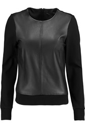 Karl Lagerfeld Erica Leather Paneled Stretch Jersey Top