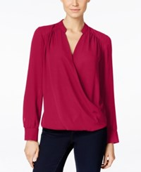 Inc International Concepts Long Sleeve Surplice Blouse Only At Macy's Real Red