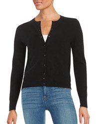 Lord And Taylor Petite Basic Crewneck Cashmere Cardigan Black