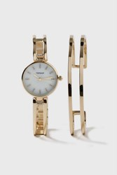 Topshop Clean Bar Bangle And Watch Set Gold