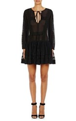 Givenchy Women's Cotton Silk Peasant Dress Black