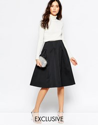 Helene Berman Black Spot Textured Skater Skirt Black
