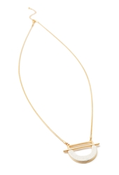 Forever 21 Faux Stone Pendant Necklace Matte Gold White