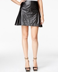 Guess Faux Leather Fit And Flare Skirt Jet Black