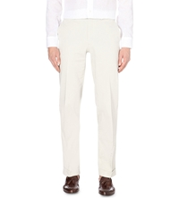 Brioni Regular Mid Rise Cotton Trousers Stone