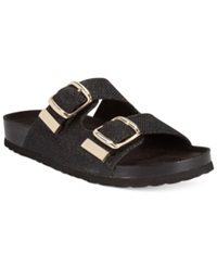 White Mountain Horizon Footbed Sandals Women's Shoes Black Glitter