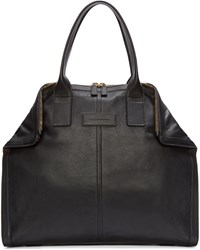Alexander Mcqueen Black Leather Small De Manta Tote