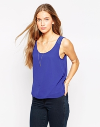 Only Woven Cami Top With Lace Straps Clematisblue