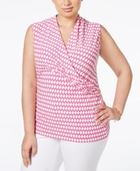 Charter Club Plus Size Geometric Print Surplice Sleeveless Top Only At Macy's Spanish Rose Combo