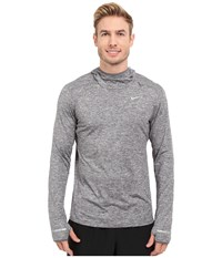 Nike Dri Fit Element Hoodie Dark Grey Heather Reflective Silver Men's Sweatshirt Gray