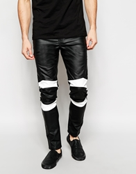 Asos Super Skinny Jeans In Motorcross Leather Look Black