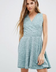 Wal G Wrap Front Skater Dress Green