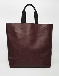 River Island Faux Leather Tote Bag In Burgundy Darkred