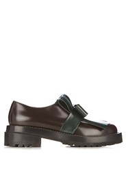 Marni Fringed Bow Leather Loafers Green Multi
