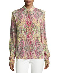 See By Chloe Mosaic Print Long Sleeve Blouse Yellow