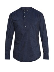Giorgio Armani Flocked Cotton And Silk Blend Shirt Navy
