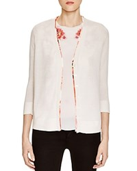 Magaschoni Floral Lined Cardigan Blanc