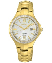 Seiko Women's Solar Coutura Diamond Accent Gold Tone Stainless Steel Bracelet Watch 29Mm Sut242