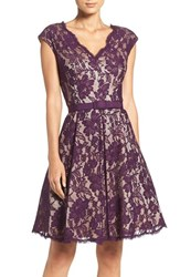 Eliza J Women's Pleat Lace Fit And Flare Dress