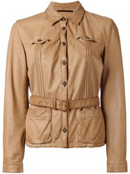 Prada Vintage Belted Leather Jacket Brown