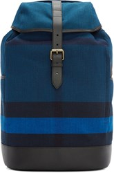 Burberry Navy Jute Striped Backpack