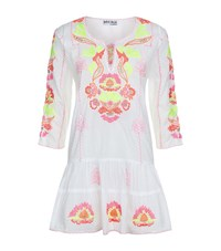 Juliet Dunn Drop Waist Embroidered Kaftan Dress Female Multi