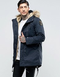 Schott M51 Fishtail Parka Borg Lined Hood With Detachable Faux Fur Trim Navy