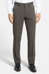 Calibrate Flat Front Houndstooth Trousers Brown
