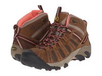Keen Voyageur Mid Cascade Brown Fusion Coral Women's Hiking Boots