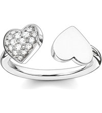 Thomas Sabo Classic Sterling Silver And Pave Zirconia Double Heart Open Ring