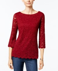 Charter Club Boat Neck Lace Top Only At Macy's Cranberry Red