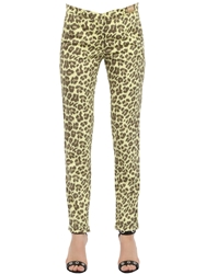 Monocrom Leopard Printed Cotton Poplin Pants Yellow Brown