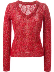 Ermanno Scervino Cable Knit V Neck Sweater Red