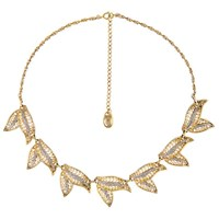 Eclectica Vintage 1950S Gold Plated Filigree Marcasite Leaf Necklace Gold