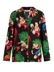 Valentino Tropical Dream Print Crepe De Chine Shirt Black Multi