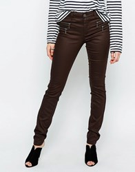 Only Olivia Coated Skinny Jeans Black Coffee Brown