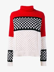 Ashley Williams Merino Cashmere Blend Check Cable Sweater Multi Coloured Black White Cream