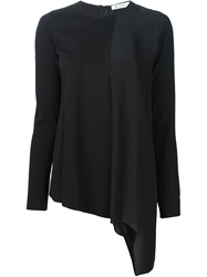 Dondup Asymmetric Draped Front T Shirt Black
