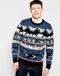 Bellfield Arctic Animal Jacquard Knitted Jumper Blue