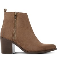 Steve Madden Porta Leather Ankle Boots Taupe Suede