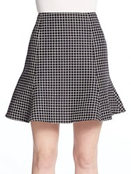 Apiece Apart Jacqueline Flared Grid Print Skirt Charcoal