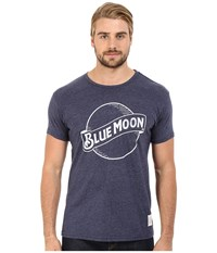 The Original Retro Brand Blue Moon Short Sleeve Tri Blend Tee Streaky Navy Men's T Shirt