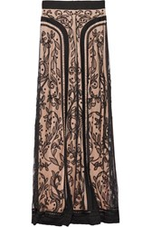 Temperley London Bertie Embroidered And Appliqued Tulle Maxi Skirt Black