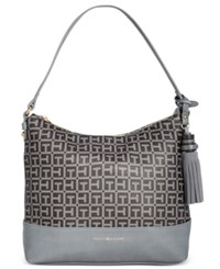 Tommy Hilfiger Grace Coated Tassel Hobo Gray Tonal