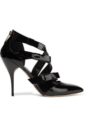 Oscar De La Renta Fleur Bow Embellished Patent Leather Sandals Black