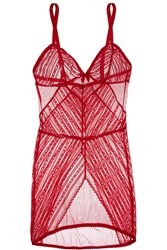 Agent Provocateur Esma Stretch Lace Chemise Red