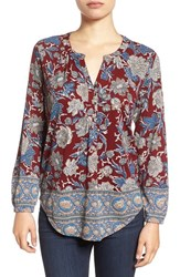Lucky Brand Women's Floral Print Split Neck Top