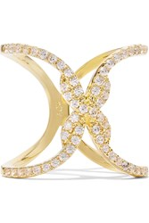 Noir Beatrice Gold Tone Cubic Zirconia Ring Metallic
